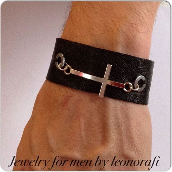 Leather bracelet for men with washers and a large cross, bracelets for men, men bracelet, jewelry for men by leonorafi on Etsy