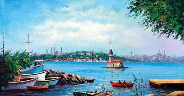 Kız kulesi! İstanbul manzarası yağlı boya tablolar