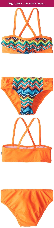 Big Chill Little Girls' Fringe Aztec Two Piece, Orange, 4. Two piece bikini suit with aztec print.