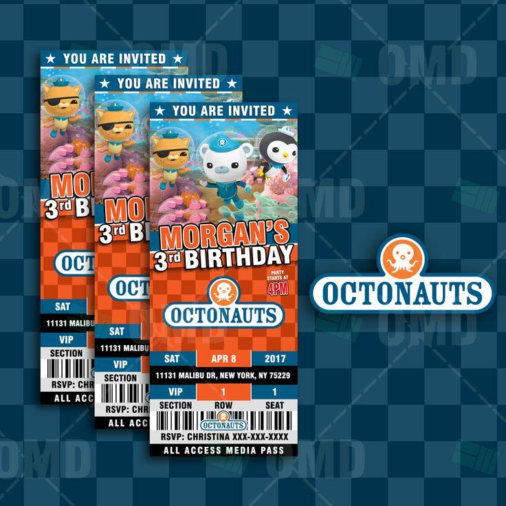 The Octonauts Ticket Style Birthday Cartoon Invites