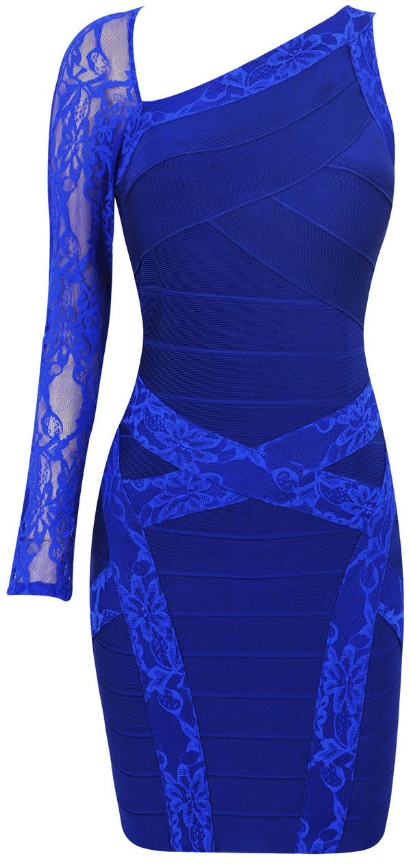 Clothing : Bandage Dresses : 'India' Cobalt Blue Lace Bandage Dress