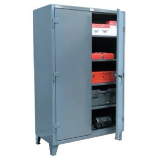 """StrongHold's all welded EXTRA HEAVY DUTY storage cabinets are the smart way to store equipment. Manufactured from 12-gauge steel, these cabinets have all the Strong Hold features to last a lifetime. These features include adjustable 14-gauge shelves with up to 1900# capacity each and can be adjusted in 2"""" increments. The 3-point locking device, includes a hasp built into the handle for use with a padlock. The 7-gauge legs are welded on to provide mobility in lifting in order to move from one…"""