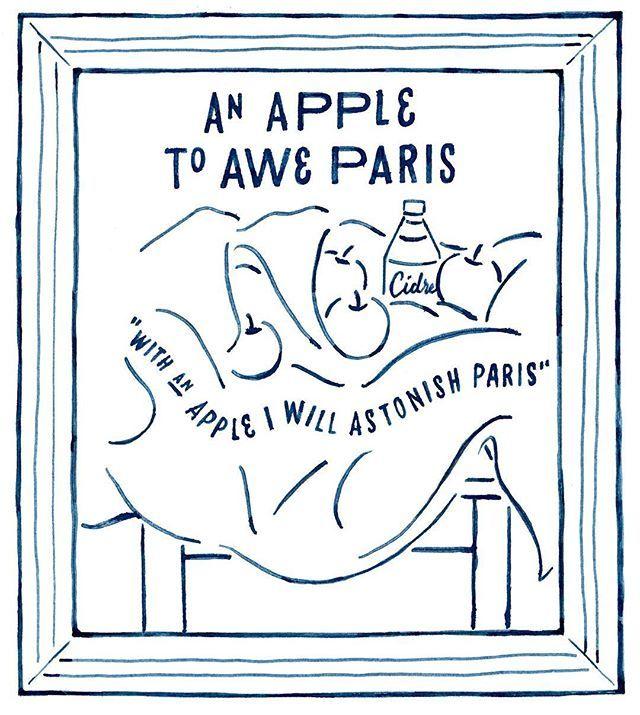 """HARD CIDREのキャンペーンサイト """"CIDRE WALL""""のイラスト デザイン解説その7  An apple to awe Paris  今回1番気に入ってるのがコレ!セザンヌの絵画のモチーフにシードル潜ませました。ラウンドする文字はデザイン的に美味しいとこです。しかしセザンヌは本当にたくさんリンゴ描いてるな〜  #chalkboy #handwritten #graphic #オトナのリンゴ"""