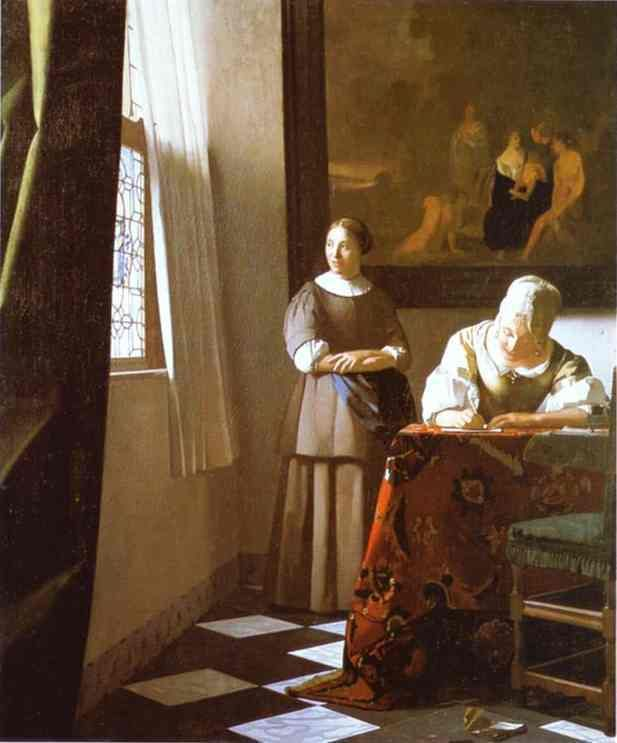 Vermeer: Lady Writing a Letter with her Maid, 1670