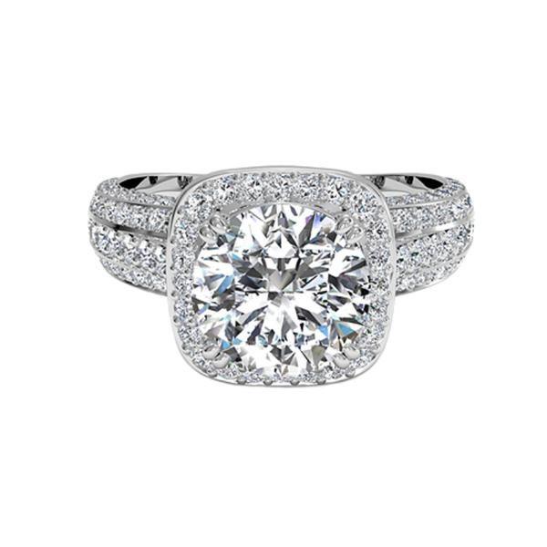 Ritani Masterwork 18 Karat White Gold Semi-Mount Vintage Diamond Accent Engagement Ring (Setting Only)