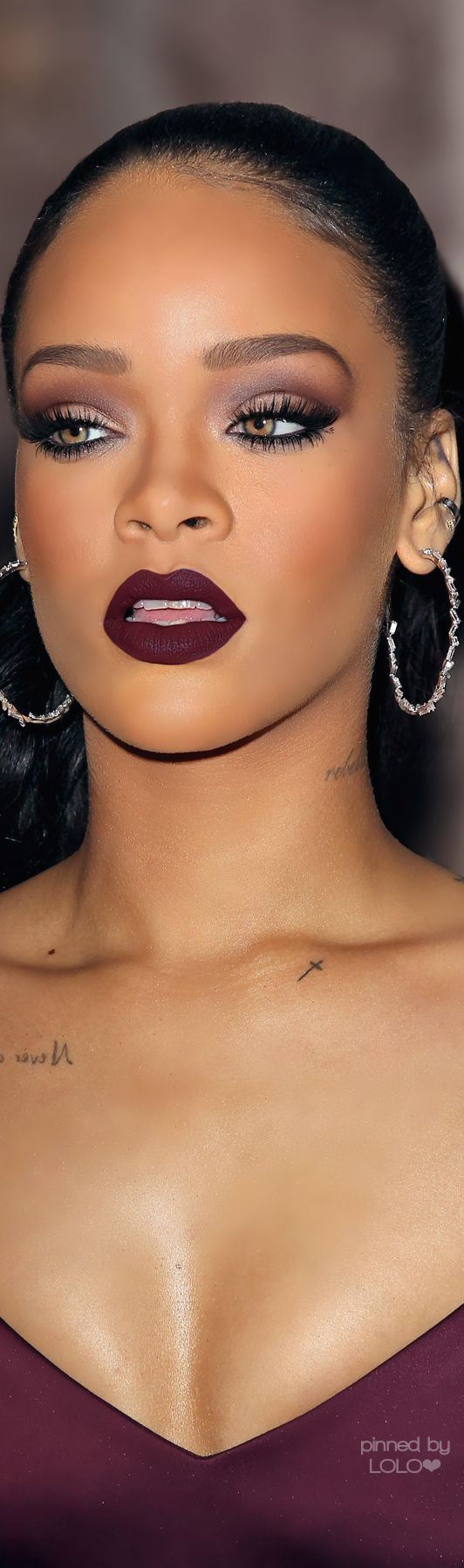 LOVE Rihanna's plum smokey eye and oxblood lipstick combo! #makeup #wetnwildbeauty                                                                                                                                                      More