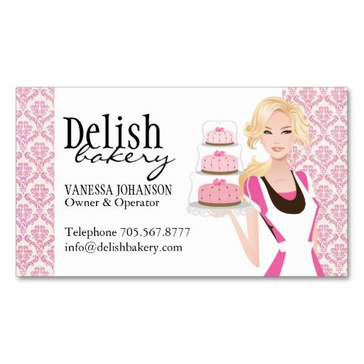 Bakery Business Card. I love this design! It is available for customization or ready to buy as is. All you need is to add your business info to this template then place the order. It will ship within 24 hours. Just click the image to make your own!