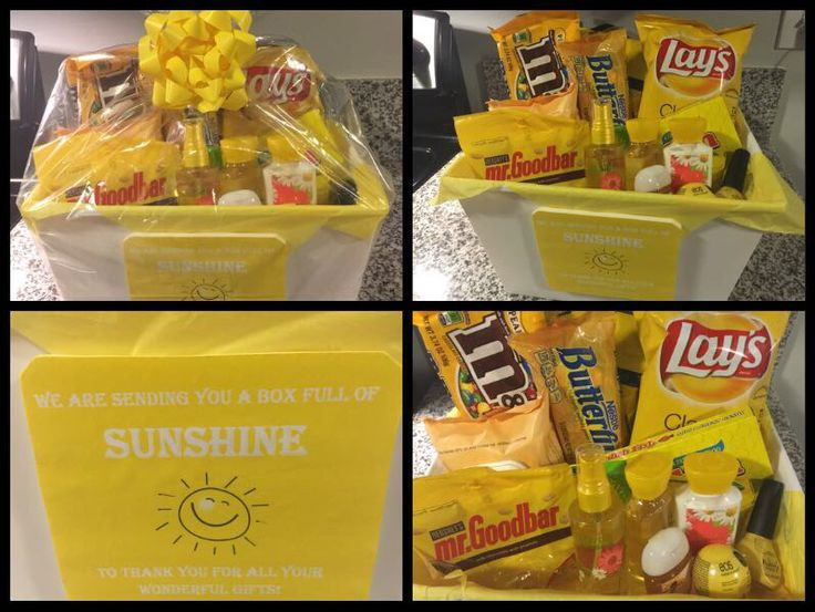 Thank you sunshine gift basket. Includes M&Ms, Butterfingers, Lemonheads, lemon Jolly Ranchers, Sour Patch Kids, Swedish Fish, lemon Lysol wipes, hand lotion, body mist, body soap, hand sanitizer, eos, nail polish, Burts Bees face wipes, Lays Chips and Mr. Goodbars chocolates.