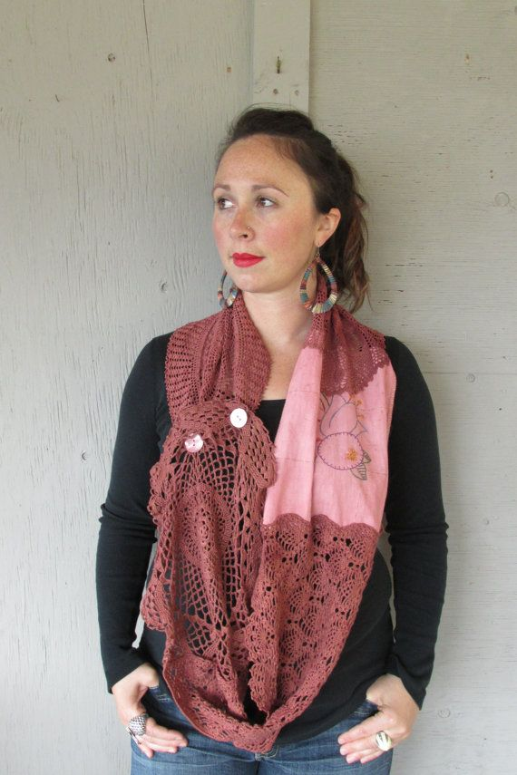 Upcycled vintage lace scarf Boho up cycled by lillienoradrygoods