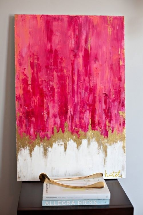 pink and gold canvas. gold wishbone.