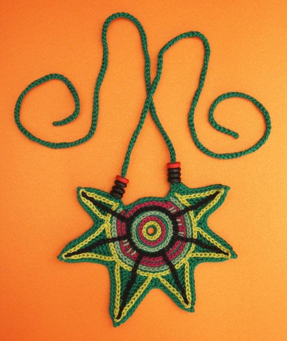 Crochet cotton thread large geometric statement necklace with colored wooden beads OOAK cn0016