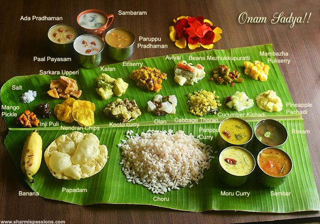 Onam Sadya Lunch Menu http://www.sharmispassions.com/2015/08/onam-sadya-lunch-menu-onam-sadya-recipes.html