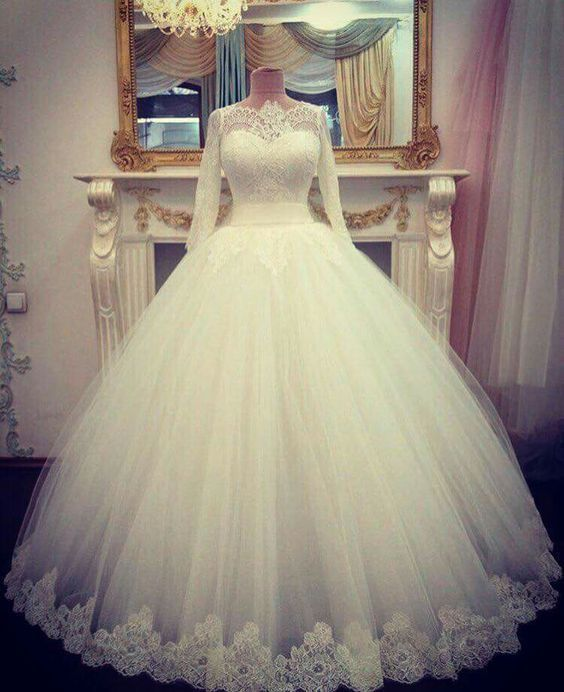 Details about Sheer Neck Long Sleeves Wedding Dress Ball Gown Bridal Dresses Custom
