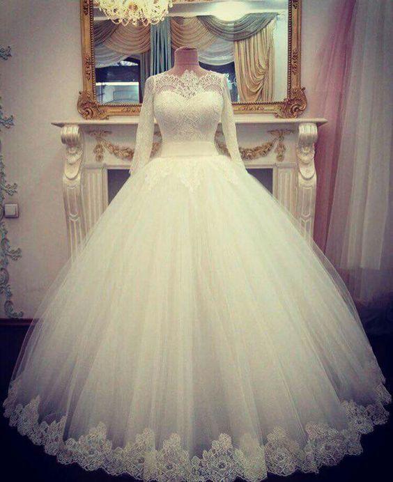 Sheer Neck Long Sleeves Wedding Dress Bridal Gown Custom Size 0 2 4 6 8 10 12