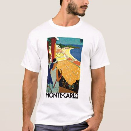 Vintage Travel, Tennis, Sports, Monte Carlo Monaco T-Shirt - click/tap to personalize and buy