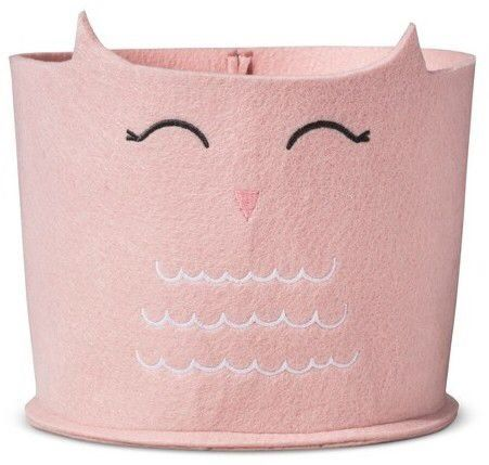 Pink felt owl storage bin, cute nursery storage, pink storage for kids.