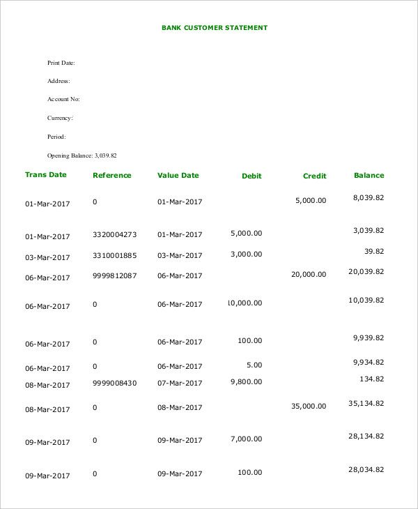 Bank Statement Templates 13+ Free Word, Excel  PDF Forms Word