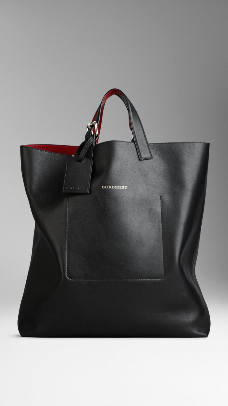 Large Bonded Leather Portrait Tote Bag | Burberry | extra large black handbag
