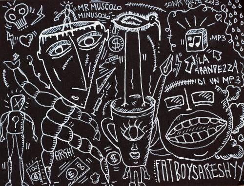 Zonk Volta FAT BOYS ARE SHY -  2013 - SCOLORINA SU FOGLIO DI CARTA NERA - 21X29 CM  I Greci furono i primi a riconoscere l'obesità come un disturbo medico Ippocrate scrisse che la corpulenza non è solo una malattia in sé ma il presagio di altre. [ Zonk Volta]