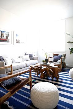 Image result for hamptons beach house interior blue and white