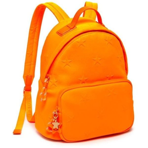 Tommy Hilfiger Neon Orange Neoprene Sport Star Backpack ($49) ❤ liked on Polyvore featuring bags, backpacks, backpack, neon orange, sport bag, sports bag, zip top bag, sports backpacks and tommy hilfiger bags