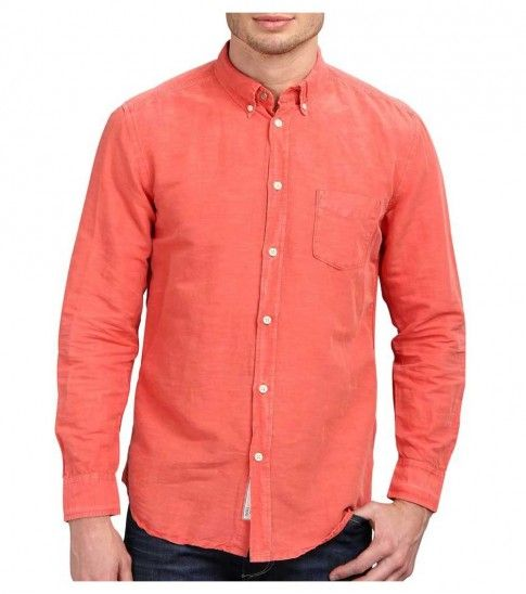 Contemporary, coral slim-fit #shirt in a fashionably faded cotton and linen blend features, Patch pocket at left chest, Long sleeves boast two-button cuffs, Subtle logo tags at left cuff and placket and 58% linen, 42% cotton material.