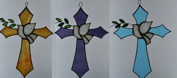 Stained Glass Blue Waterglass Cross with Peace Dove and Olive