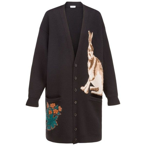 LOEWE Cardigan William Morris Black (5.450 BRL) ❤ liked on Polyvore featuring tops, cardigans, knitwear, multicolor, colorful tops, loewe, multi colored cardigan, jacquard top and multicolor cardigan
