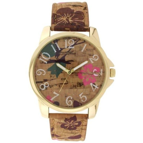 A Classic Time Watch Co.  Women's Brown Cork Pink Floral Watch ($15) ❤ liked on Polyvore featuring jewelry, watches, brown, floral jewellery, brown watches, pink jewelry, floral watches and pink wrist watch