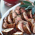 pan seared pork tenderloin with rhubarb compote