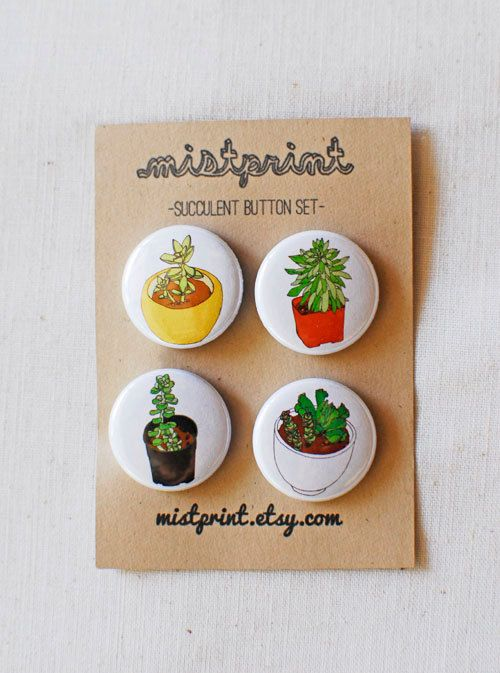 Succulent Pinback Buttons Set of 4 by mistprint on Etsy