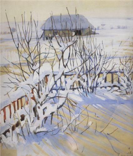 """""""Winter landscape.Neskuchnoye"""" by  Zinaida Serebriakova, 1910"""