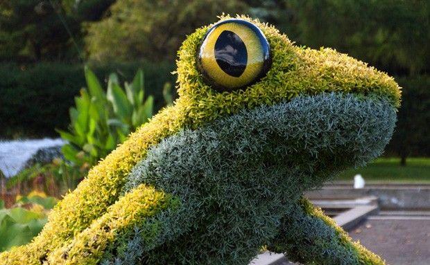 Um jardim encantado de verdade. Exposição Imaginary Worlds. Esculturas verdes no Jardim Botânico de Atlanta, Geórgia, USA.