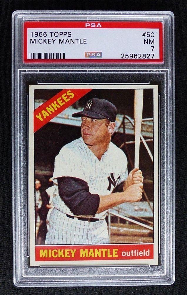 1966 Topps 50 Mickey Mantle Psa 7 Nm New York Yankees Centered