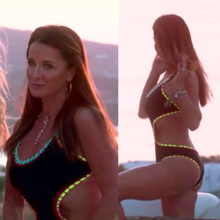 Kyle Richards' Crochet Trim Cut Out Swimsuit in Mykonos http://www.bigblondehair.com/real-housewives/rhobh/kyle-richards-blue-crochet-trim-bathing-suit/ #RHOBH