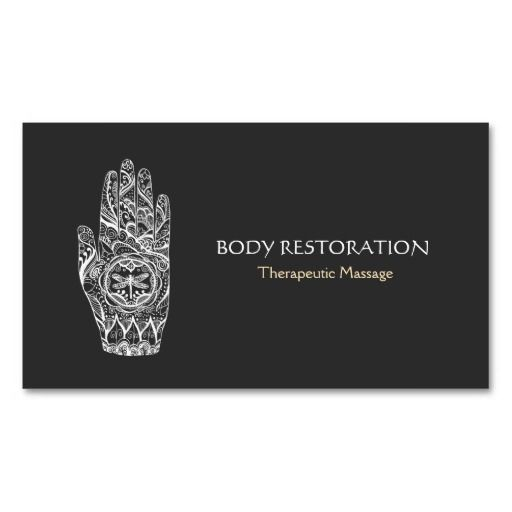 Massage Therapist Henna Dragonfly Tattoo Hand 5a Double-Sided Standard Business Cards (Pack Of 100)