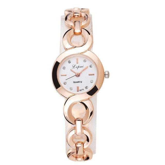 LVPAI Brand Luxury Gold Watches Women Stainless Steel Wristwatches Rhinestone Women Bracelet Watch Ladies Wrist Watch Female