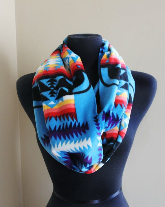 Turquoise Infinity Native American Print Scarf on Etsy, $16.00