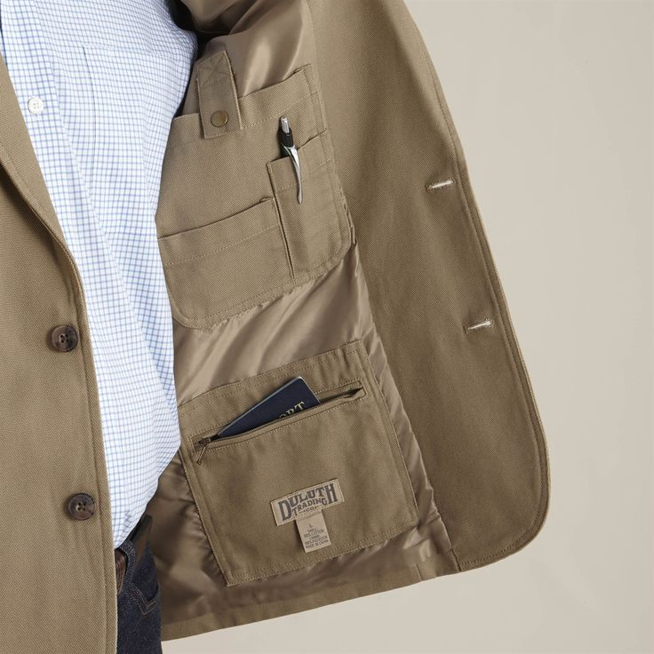 Men's Fire Hose Presentation Jacket from Duluth Trading Company goes from job site to client meeting without missing a beat, with 13 handy pockets. Only at Duluth Trading Company!