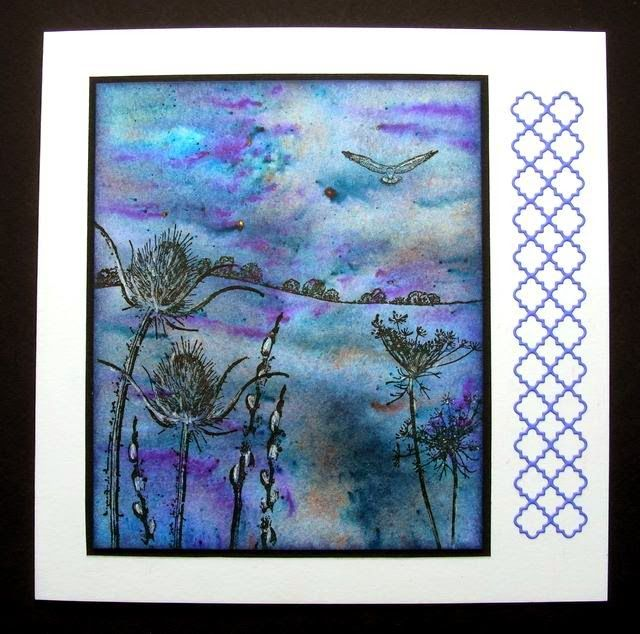 Background made with Brusho powder inks. Stamps by Art Journey, Stampinback, Lindsay Mason, Hobby Art.