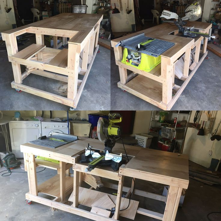 Charming Combination Saw Bench Part - 10: Quick And Easy Mobile Workstation With Table Saw And Miter Saw Platforms |  Garage, Wood Shop | Pinterest | Woodworking, Bench And Wood Working