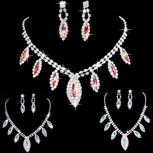 Bluelans Women's Rhinestone Waterdrop Pendant Necklace Earrings Wedding Bride Jewelry Set //Price: $US $1.55 & FREE Shipping //     #hashtag3