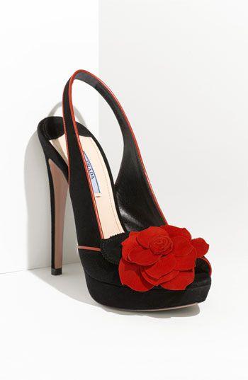 Prada Rosette Trim Platform Sandal