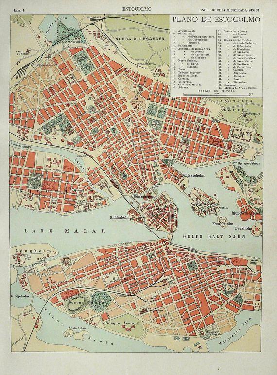 City map of Stockholm, 1900 #map #stockholm