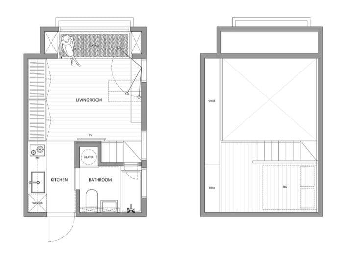 Los diseñadores de A Little Design remodelaron un espacio de 22m2, y 3,3m de altura, para convertirlo en un estudio con altillo, con cocina y cuarto de baño