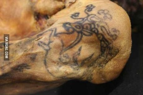 The Ice Maiden's tattoo, the oldest preserved specimen of tattooed human skin, 5th c BC.
