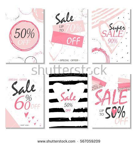 Set of 6 discount  cards design. Can be used for social media sale website, poster, flyer, email, newsletter, ads, promotional material. Mobile banner template.