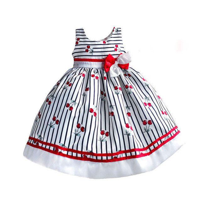 Fashion Cherry Striped Party Kids Dress