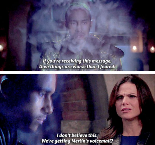 """We're getting Merlin's voicemail?"" - Regina and Merlin #OnceUponATime ((Yep, my exact thoughts))"