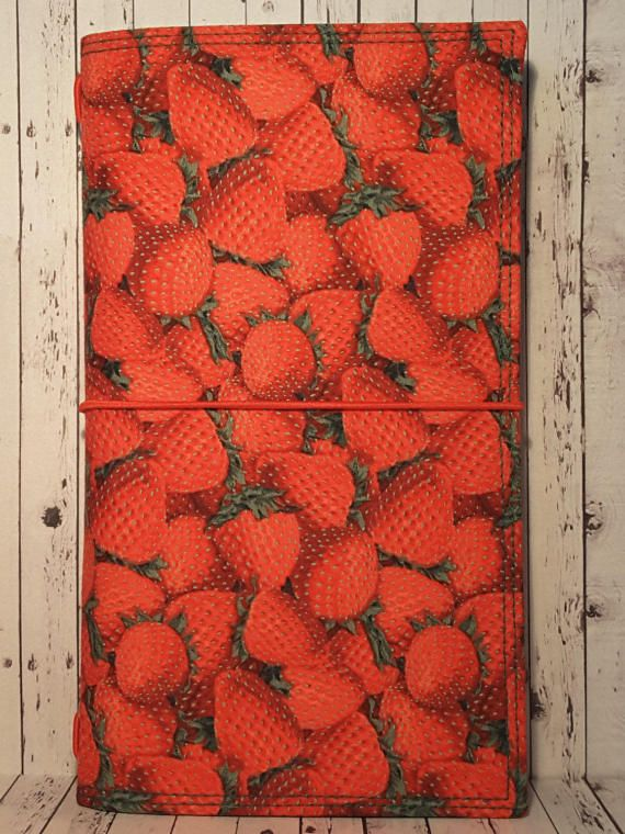 Wilddori 'Strawberry Delight' Travelers Notebook Journal with Dark Green Lining and Red Elastic, Midori Style Fauxdori, with Insert.